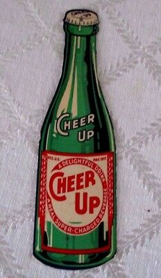 """Vintage Cheer Up Bottle Sign-Light Chain Pull-8.5"""""""