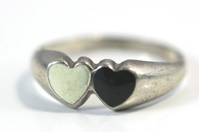 "D314 Double heart Sterling 2g 925 Ring top 1/2"" wide size 6 1/2"