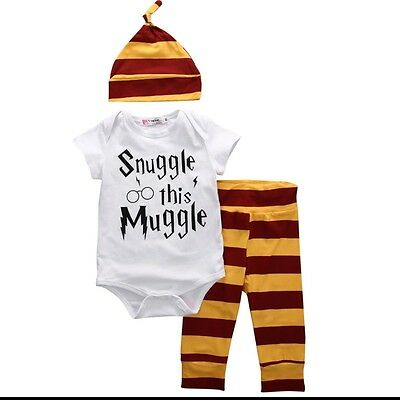 Harry Potter Snuggle This Muggle 3 Piece Set 3-6 months *Ships From Texas