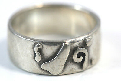 "D315 Modernist Band Ring sterling 5.5g 925 top 1/2""w size 7 1/2"