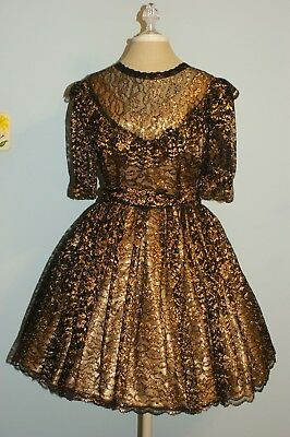 Square Dance Outfit - Gold with Black and Gold Overlay