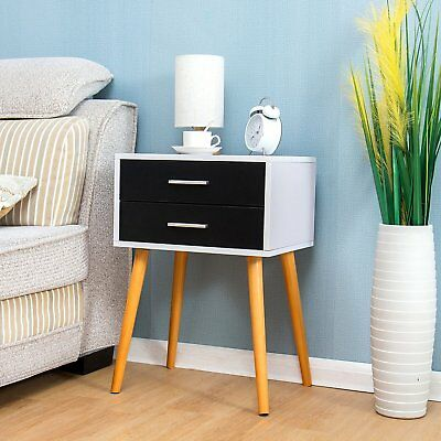 Cherry Tree Furniture Black & White 2-Drawer Bedside Table Nightstand Cabinet