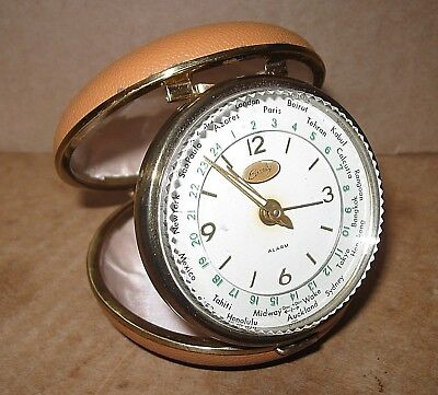 Vintage 50S 60S 70S Elgin Bradley Tan CLAM SHELL World Time TRAVEL ALARM CLOCK