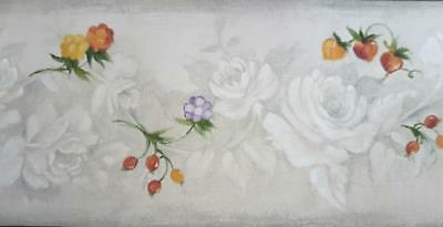 Wild Berries & Flowers on Pale Grey Roses in Relief Kitchen Wallpaper Border