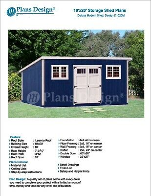 10' X 20' Deluxe Modern Backyard Storage Shed Plans # ...
