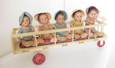 1930's Alexander Set 5 Composition Dionne Quintuplets w/Rare Scooter All Orig.