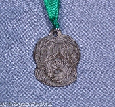 Old English Sheepdog Vintage Pewter Dog Christmas Ornament 1983