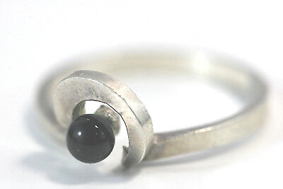 D317 Modernist Onyx 4mm ball ring Anor sterling 2g 925 Ring size 7 1/2