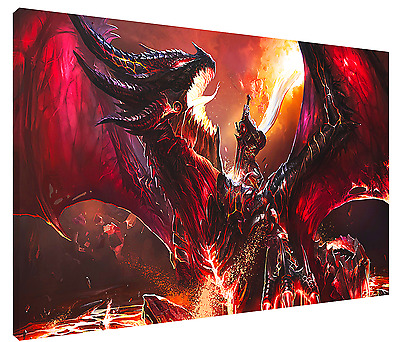 DEATH OF DEATHWING HD Canvas Art Print (FRAMED ) Fast FREE Shipping! WARCRAFT