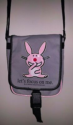 "HAPPY BUNNY Jim Benton Messenger Bag ""Let's Focus On Me."" -Grey/Gray - Pre-owned"