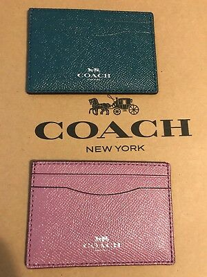 Coach Authentic Flat Card Case Glitter Crossgrain Leather Pick Lilac or Teal NWT