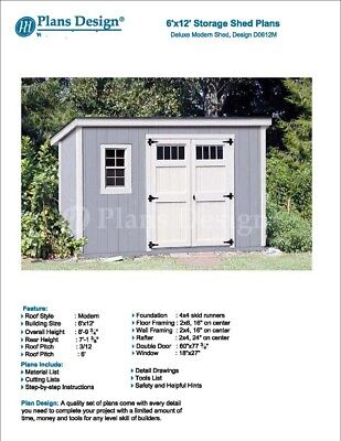 8/' x 12/' Deluxe Shed Plans Modern Roof Style #D0812M Material List Included