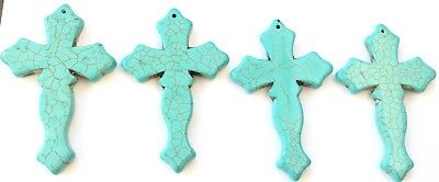 4PCS Fine Turquoise Cross charms-Pendant Beading Supplies