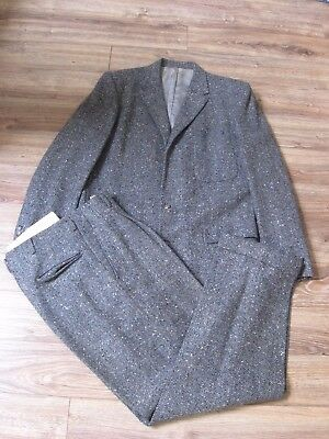 VTG 1950's Union Made Hollywood Fleck Suit Jacket & Pleated Pants-SIZE 38/40