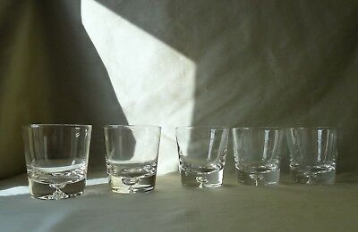 5 Dimpled Base Whisky Glasses/Tumblers, VGC