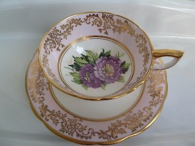 Salisbury Zinnia Floral TEA CUP AND SAUCER Set Fine Bone China EC Lovely Gold
