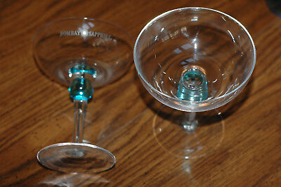 Pair Bombay Sapphire Gin Martini Glasses New - Free USPS Priority Shipping !!!!