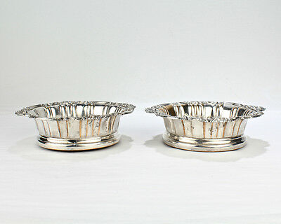 Pair of 19C Crested English Sheffield Silver Plate Wine Coasters - Bow Arrow SL