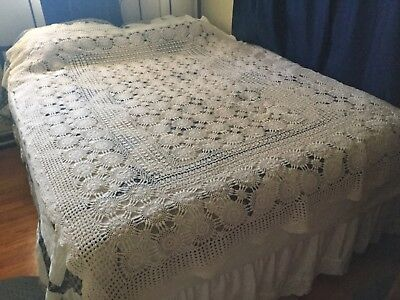 "VTG Ecru Hand Crocheted Farmhouse Style Bed Coverlet or Tablecloth 62"" W x 80"" L"