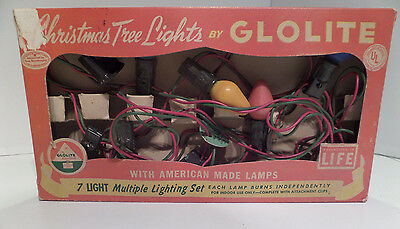 Vintage 50's 60's GLOLITE Christmas Tree Lights 7 Light Set Orig GE Bulbs As Is