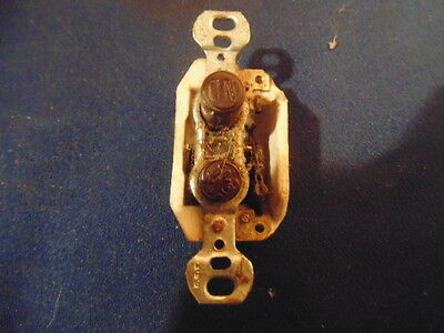 lot of 4 ceramic push button switches with solid brass cover plates, G.E.