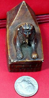 Amazing Egyptian Statue, Sphinx & Pyramid Natural Carved Stone see description