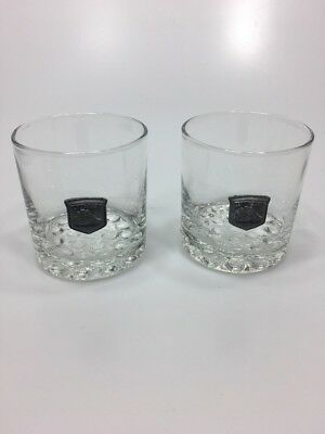 Cutty Sark Whisky The Real McCoy Pewter Medallion Set of 2 Round Cocktail Glass