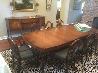 Dining Furniture, Table, 8 Chairs, Sideboard, Grand Rapids Century, Hepplewhite