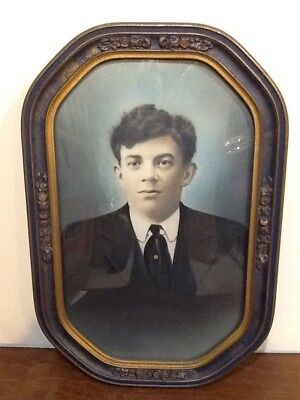 Large Vintage Picture And Picture Frame With Convex Glass
