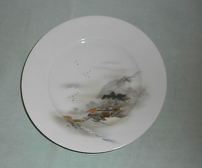 Vintage Kutani Signed Handpainted Side Plate  : Mountain Village Scene