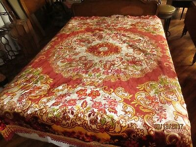 Vtg Italian Tapestry Bed Or Wall Covering Cherubs / 88 X 100 ""