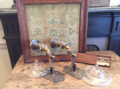 Early vintage pair gesso and iron wall fixture sconces w/smoke bells