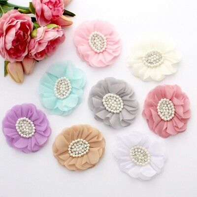 1 x Chiffon Pearl Rhinestone flowers appliqué - millinery, hair, crafts