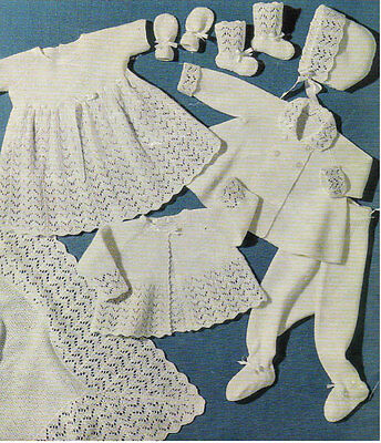 VINTAGE  KNITTING   PATTERN  COPY  - 8 PIECE SET LAYETTE TO KNIT FOR BABY-1960's