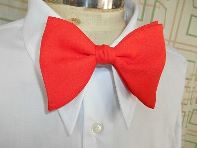 Vintage 1970's Red Polyester Austico Clip On Bow Tie Vegas Prom Tuxedo Formal