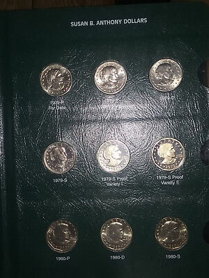 Susan B. Anthony Dollars Complete Set Including Proof Issues  Both Varieties BU