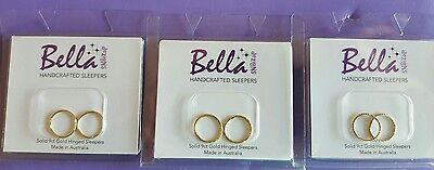 Choose 1 pair SMALL 12mm SOLID 9ct GOLD Sleeper Earrings