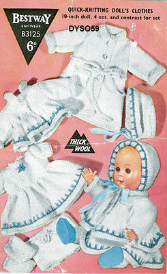 """Vintage Knitting Pattern  Copy - To Knit For 10"""" Dolls   -  6 Pieces -1950's -"""