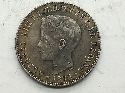 Puerto Rico 40 Centavos 1896 Alfonso XIII Silver Coin Better Date Nice!