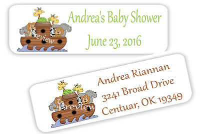 "80 Mini Baby Shower Noahs Ark Personalized Return Address Labels - 1/2"" x 1 3/4"""