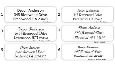 "80 Mini Plain Text Personalized Return Address Labels - 1/2"" x 1 3/4"""