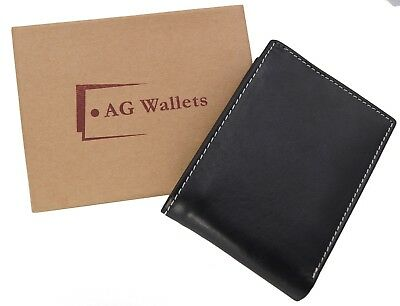 AG Wallets Mens Multi Card Premium Cow Leather Passcase Billfold Wallet Brown