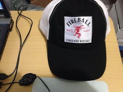 Fireball Red Hot Cinnamon Whiskey Mesh Trucker Hat Cap Black White NEW Promo