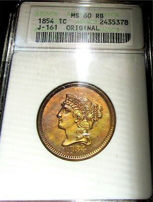 "1854 Large Cent P1C *red-Brown Proof* ""rare R-4"" +++ Certified Anacs Pr-60Rb +++"