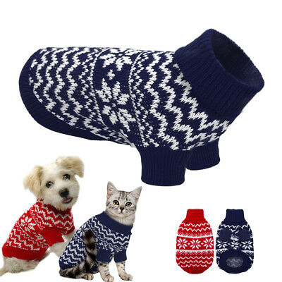 Small Dog Knitted Sweater Chihuahua Clothes Pet Puppy Cat POLO Neck Xmas Jumper