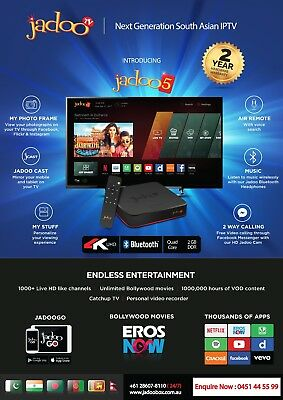 Jadoo 5 Android IPTV Setup Box  with 2 years warranty & mic air mouse