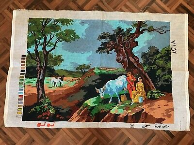 Vintage unused v large stiff printed embroidery canvas farm horse cow lady man