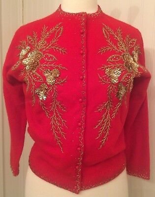 vintage 1950's red beaded sweater, gold beads, Christmas