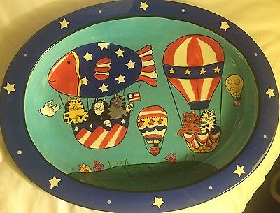 Catzilla, 2003 Candace Reiter Designs Large Ceramic Serving Dish Tray Bowl