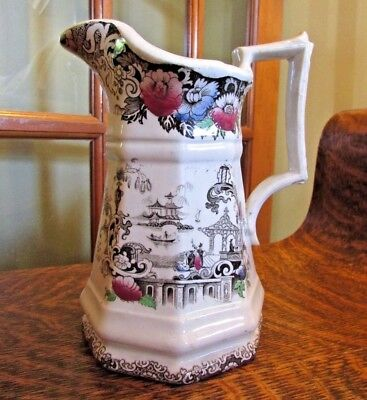 "ANITQUE 1800's AESTHETIC TRANSFERWARE  R.C. & CO ""CHINESE""  JUG, PITCHER"